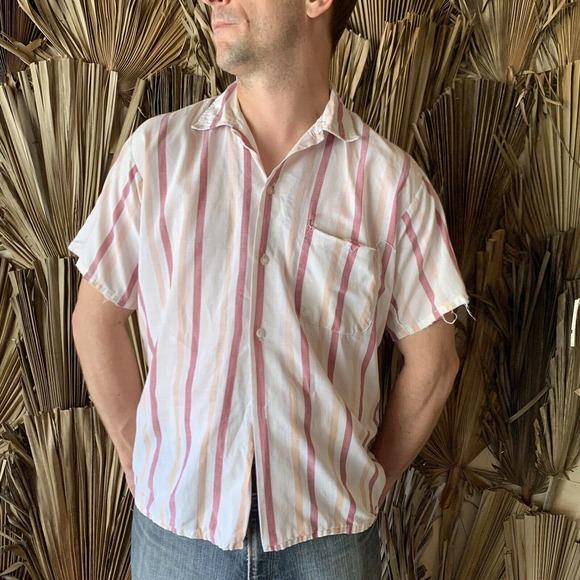 Vintage Striped Cotton Grunge Shirt Distressed